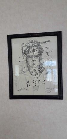 Картина чернилом, карандашом