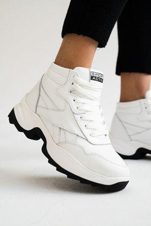 Женские кроссовки кожаные зимние белые-черные Onward R New