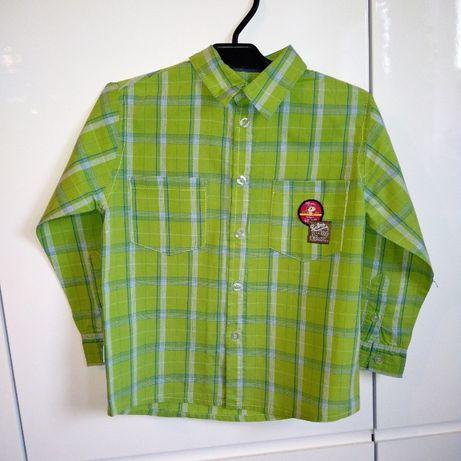 Koszula w kratę zielona wizytowa 110, 5-6 lat dla chłopca
