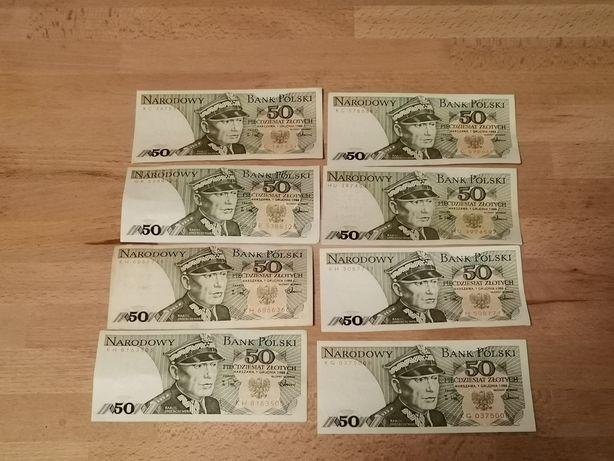 Banknoty 50 złotych 1988r(8 sztuk)