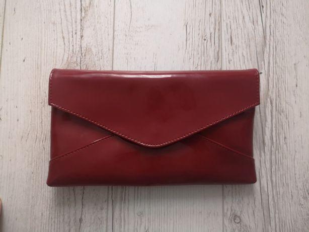 Bordowa/czerwona skórzana torebka  kopertówka