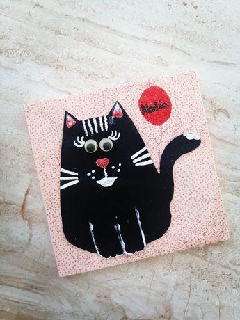 Obrazek z kotkiem imię imienny Nadia 20x20 cm