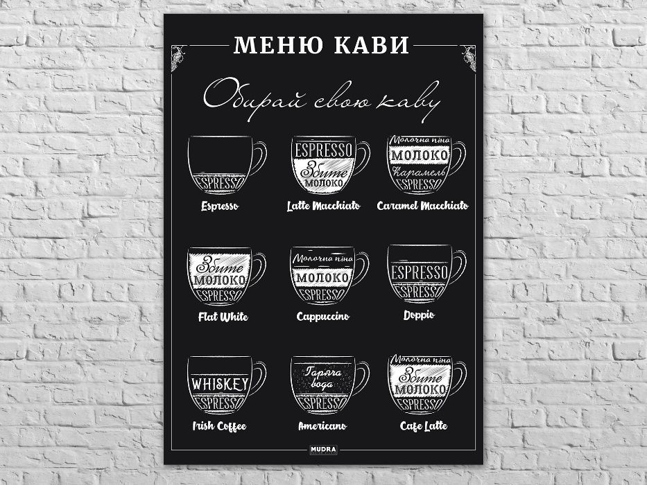 Большой плакат, Кофе Меню. Кофейные напитки Кривой Рог - изображение 1