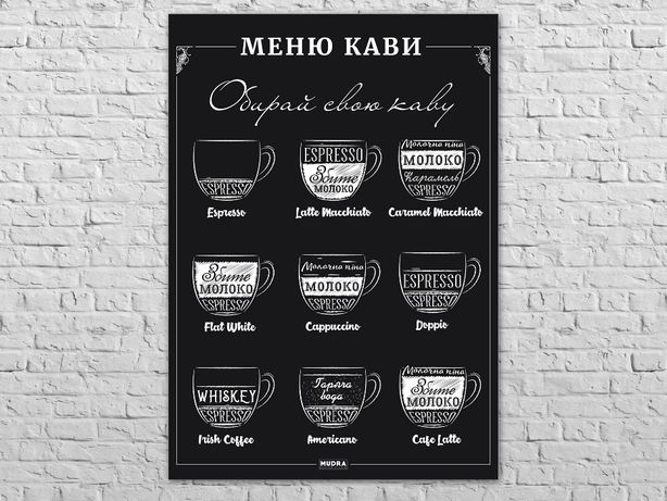 Большой плакат, Кофе Меню. Кофейные напитки