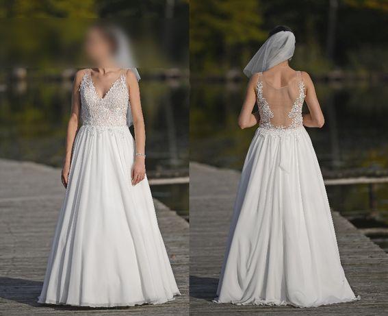 Wyjątkowa suknia ślubna roz. 38. Kolor IVORY/ŚMIETANOWY