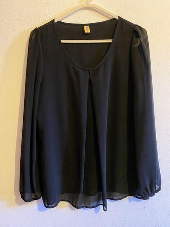 Camisa fluída com mangas transparentes