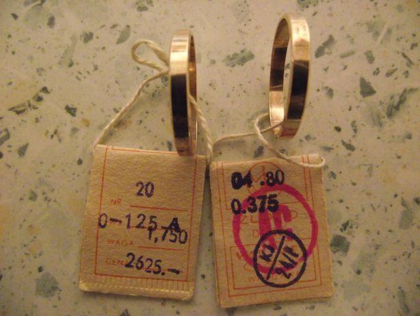 Złote obrączki 375 - 2 sztuki