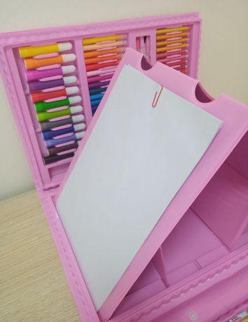 Набор для детского творчества с кейсом розовый