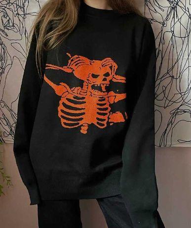 Черный свитер со скелетом\черепом в стиле гранж панк унисекс