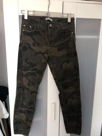 spodnie jeansy skinny moro bershka cargo