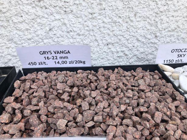 Kamień ozdobny ogrodowy czerwony Grys Vanga Venge
