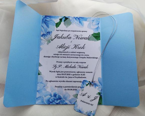 Zaproszenie na ślub niebieskie eleganckie kwiatowe