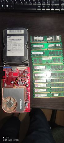 Ddr2 10 гиг + ddr 1 1 гиг + 2 видеокарты + 4 винта 1 . Мать и проц.