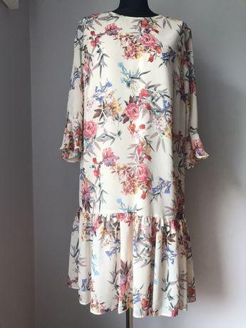 Sukienka kremowa  wesele kwiaty nowa 44 XXL