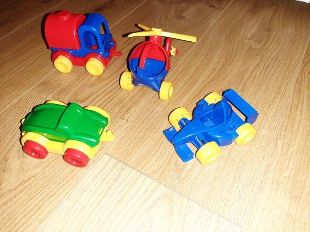 Cztery pojazdy Wader samochodziki autka i helikopter Stan bardzo dobry
