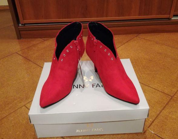 Czerwone eleganckie buty, botki Jenny Fairy r. 35 szpilka
