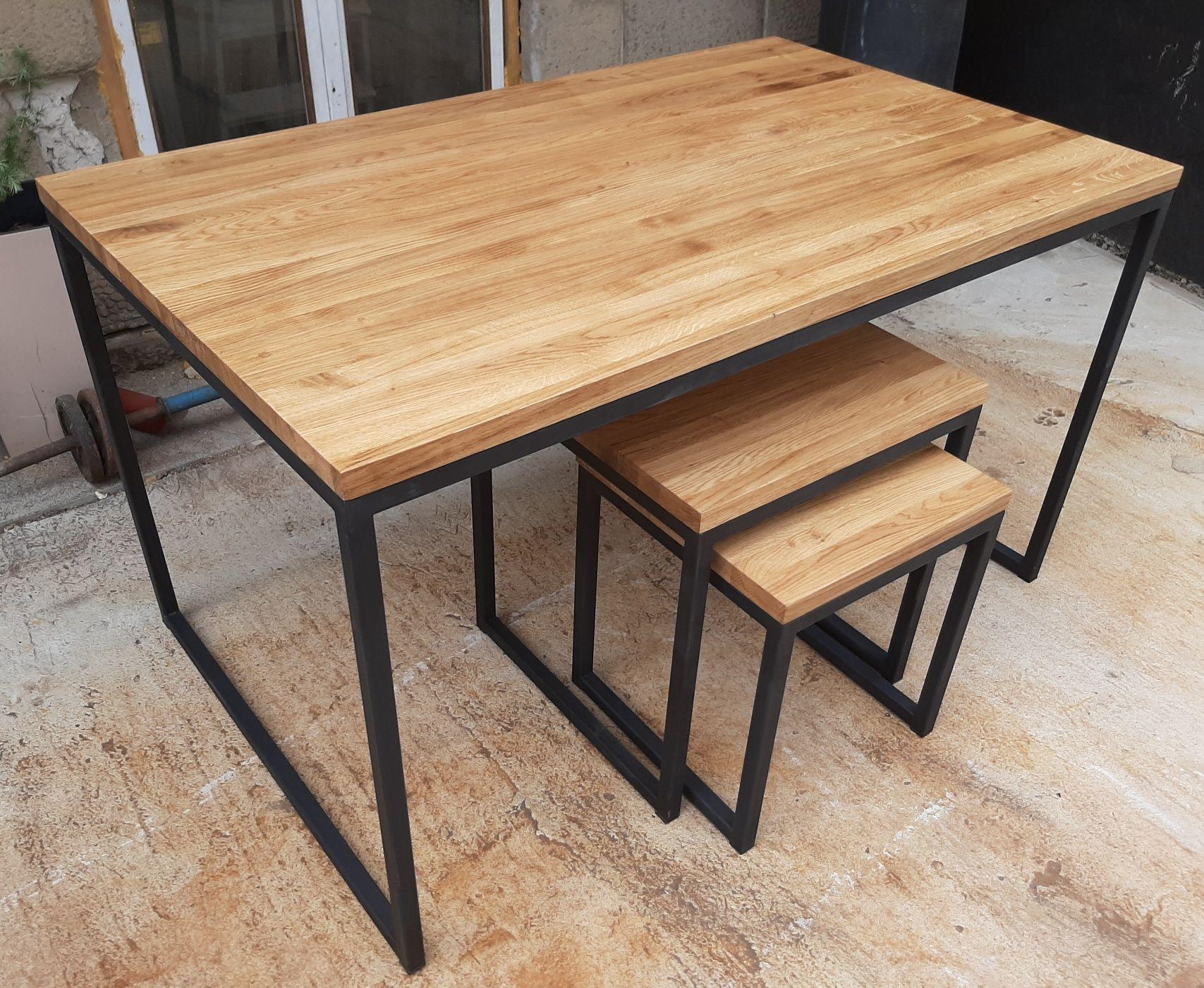 Stół i stoliki loft. Drewno dębowe. Zestaw do salonu lub biura.