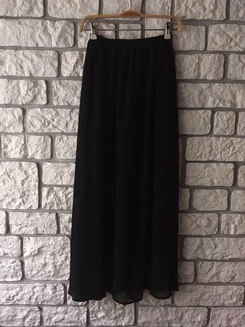 Letnia spódnica długa midi czarna z siateczki z podszewką XS