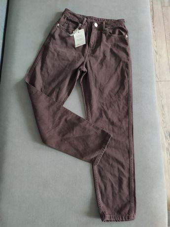 Spodnie jeansowe denim asos brązowe jeansy jeans