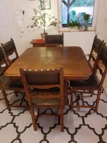 Sprzedam zestaw komplet stół antyczny z krzesłami 6 szt.