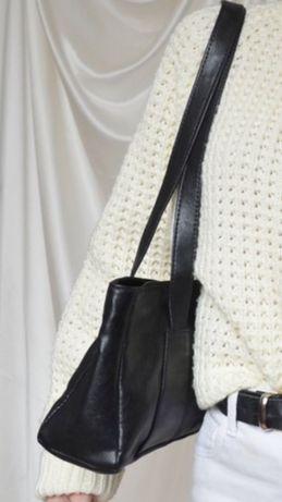 Na prezent elegancka torebka torba skórzana na ramię do ręki czarna