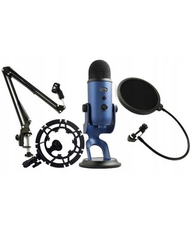 Mikrofon blue yeti studyjny + statyw + pop+ kosz