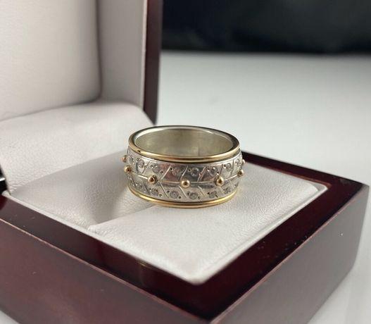 Pierścionek - obrączka OBROTOWA, wzór PIAGET srebro/złoto PR. 585 r.16