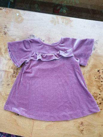 Welurowa aksamitna cudna bluzeczka tshirt koszulka Next rozm 18-24 m