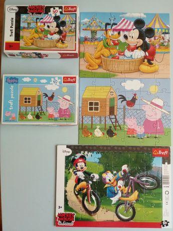 Puzzle 3+ 30elementów Peppa Mickey i Donald, Mickey i Pluto