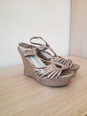 Sandały sandałki złote r 39