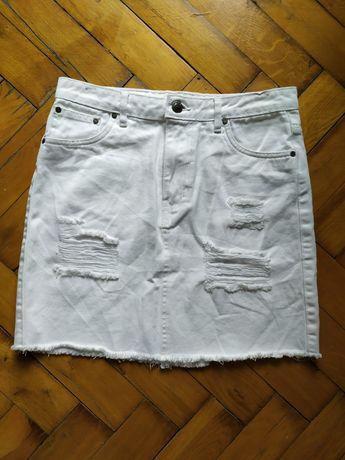 Biała jeansowa spódniczka 36/S