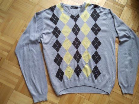 Modny sweter szary w romby r. L.