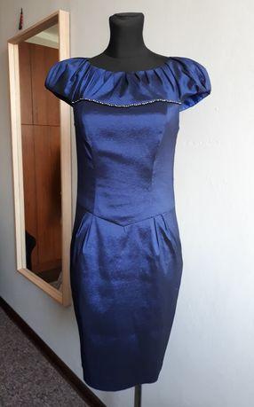 Ołówkowa sukienka wieczorowa ciemny granat. Rozmiar 36
