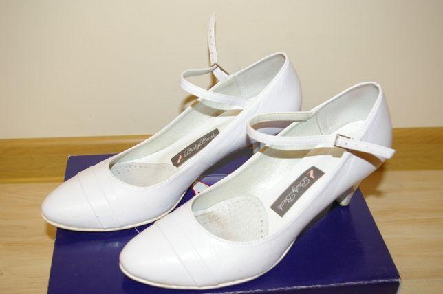 """białe buty ślubne skórzane zapięcie 39 """"Biały bucik"""" na obcasie"""