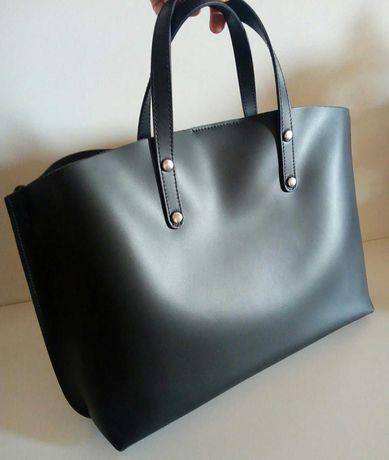 Новый крутой кожаный шоппер женская сумка кожа кожаная италия черная