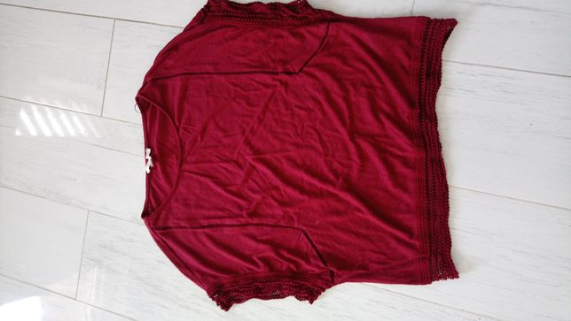 Bordowa bluzka nietoperz z koronką rozm. L
