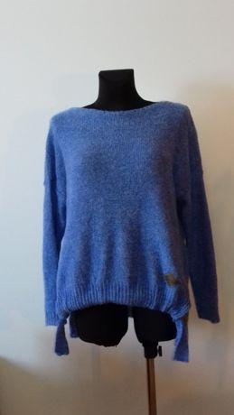 Sweter damski z wiązaniem, niebieski, nowy, uni rozmiar, najtaniej