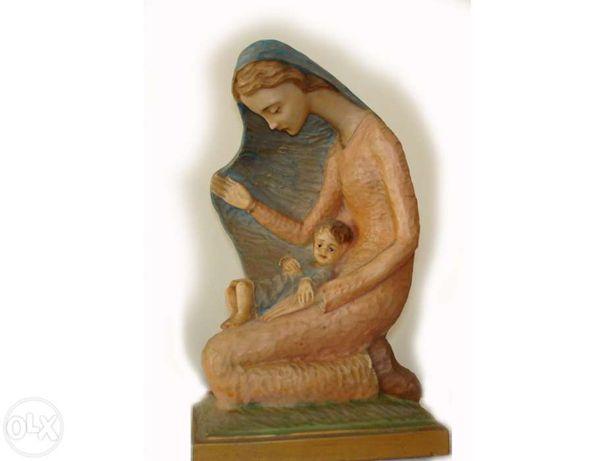 Nossa Senhora com Menino pintada à mão