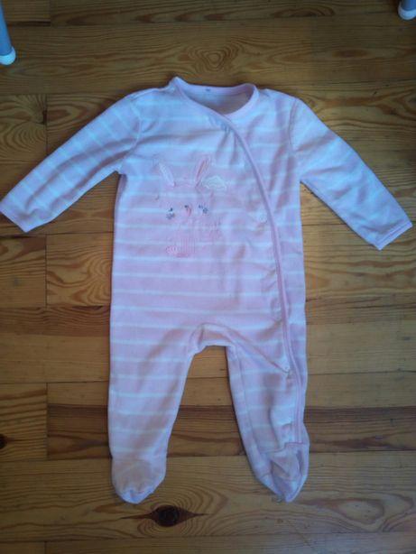 Pajacyk kombinezon śpiworek polarowy piżamka dla dziewczynki 68 3-6 mc