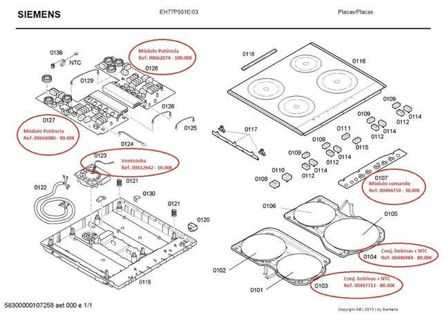 Peças placa de indução Siemens EH77P501E