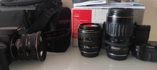 máquina Canon + várias lentes Canon USM - grande angular +teleobjetiva