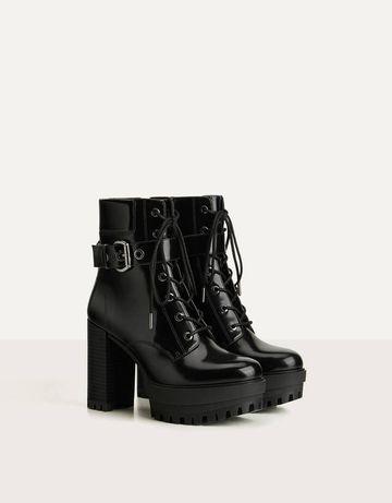 Ботильоны BERSHKA, ботинки черные для Go go , повседневной носки