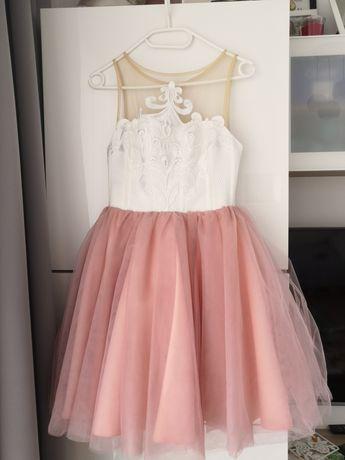 Sukienka LOU xs biało różowa krótka