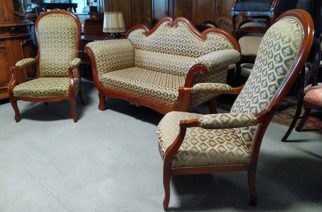 Komplet wypoczynkowy sofa Biedermeier + 2 Fotele wypoczynek zestaw