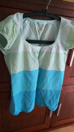Bluzka cienka bawełniana z gumkami M-L,pasy niebiesko -miętowe Jackpot