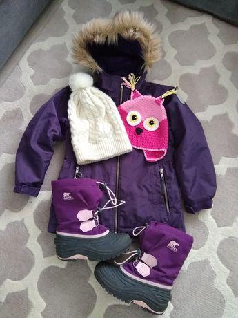 Zimowy Zestaw dla Dziewczynki rozm 128 Śniegowce Sorel Kurtka Czapki