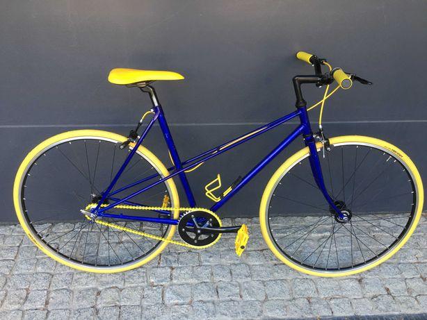 Rower dwururka damka wolnobieg+ostre koło cromo Tange kolarzówka