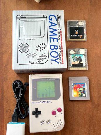 076 Game boy gameboy Original Classico DMG-01 + Cabo + Jogo + Caixa