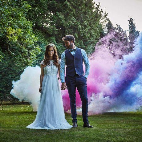 Kolorowe dymy na wesele, sesje weselne, flary dymne
