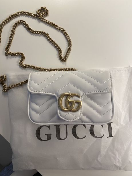 Mala Gucci Mini  em pele genuina - Branca - Nova
